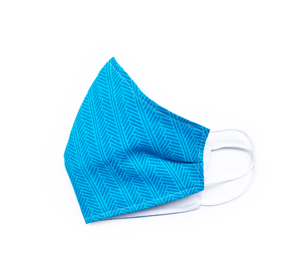 Blue Herringbone (Reusable Face Mask)