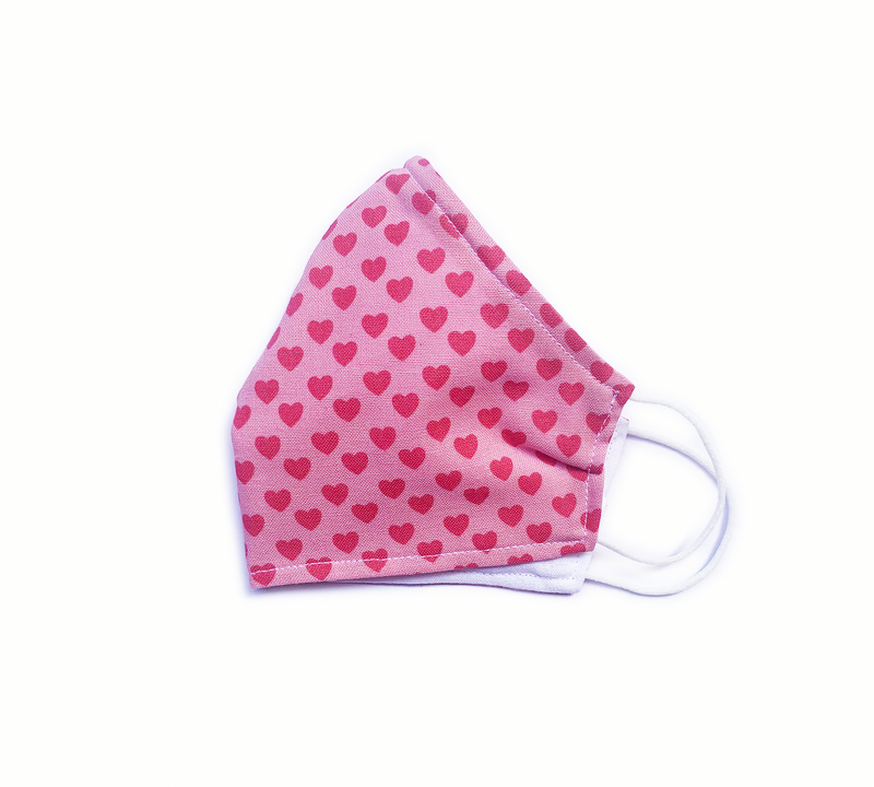 Pink Hearts (Reusable Face Mask)