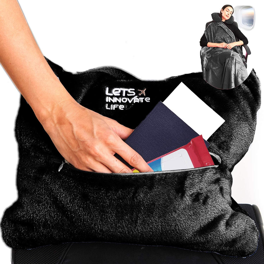 4 in 1 Travel Blanket - Black