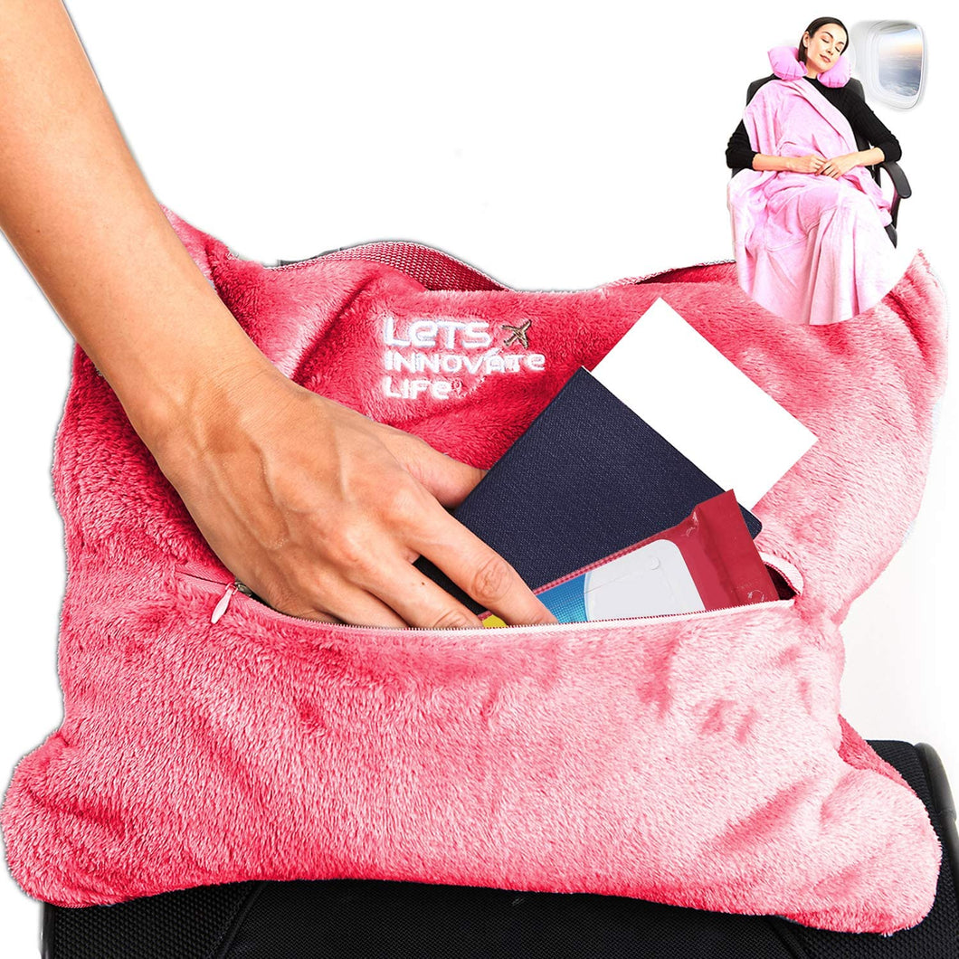 4 in 1 Travel Blanket - Pink
