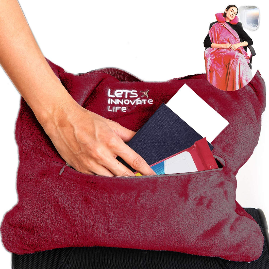 4 in 1 Travel Blanket - Wine Red
