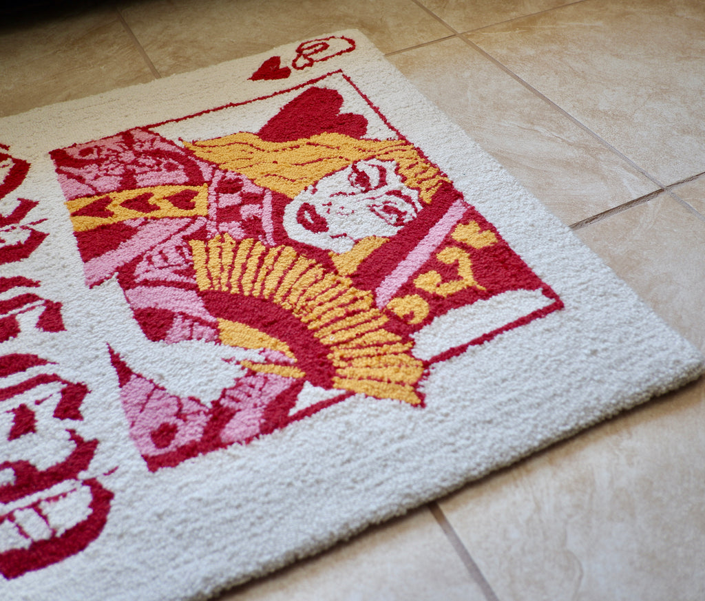 Close up of Queer of Hearts rug