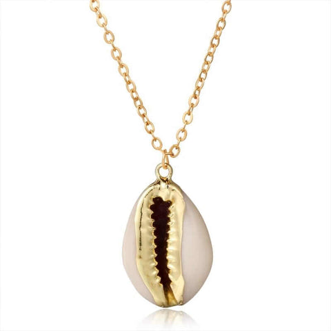 Collier coquillage or et blanc