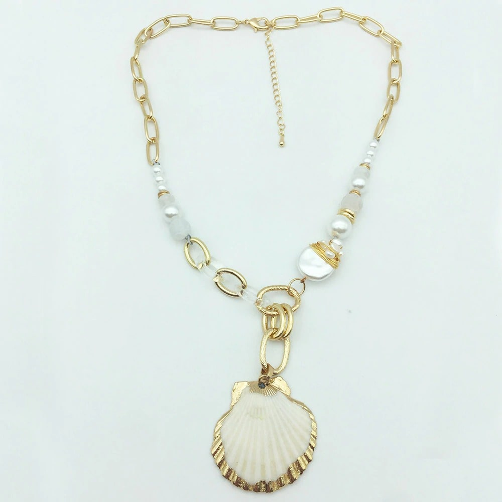 Collier coquille perles
