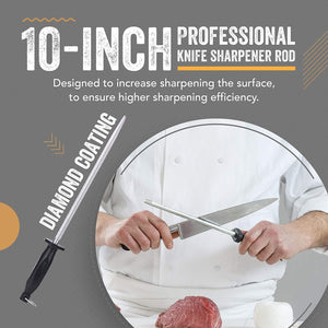 Top Chef's 10' Knife Rod + Knife Guard Honing Steel