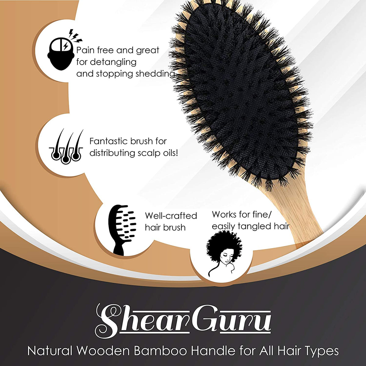 Boar Bristle Detangling Hair Brush