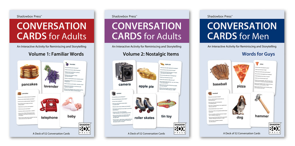 CONVERSATION CARDS – Three-Deck Set: Familiar Words, Nostalgic Items & Words for Guys