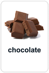 Front of memory care flashcard 'chocolate' showing candy bar