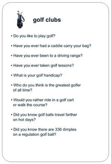 Conversation Card – golf clubs – back