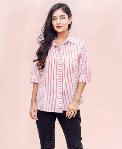 WHITE AND RED RAYON STRIPES BUTTON DOWN