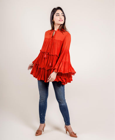 TASSLED RAYON FRILL TOP IN RUST