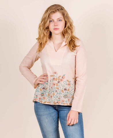 COTTON PINK MULTICOLOURED EMBROIDERED SHORT TOP