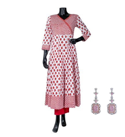 Pink / white Angrakha style floral printed Indo western kurta dress