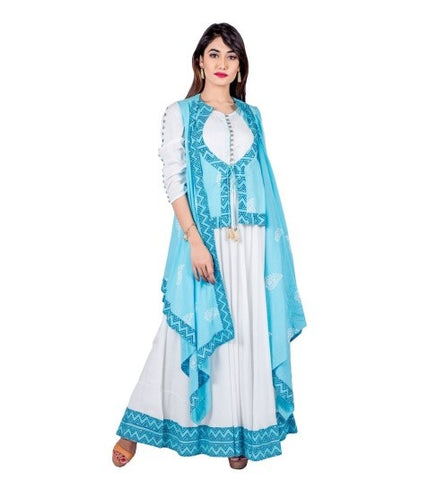 Aqua / White Hand Block Print Indo Western Maxi Dress with Jacket Waterfall Shrug