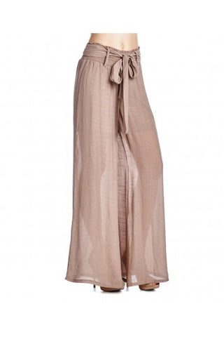 Beige Belted Style Palazzos