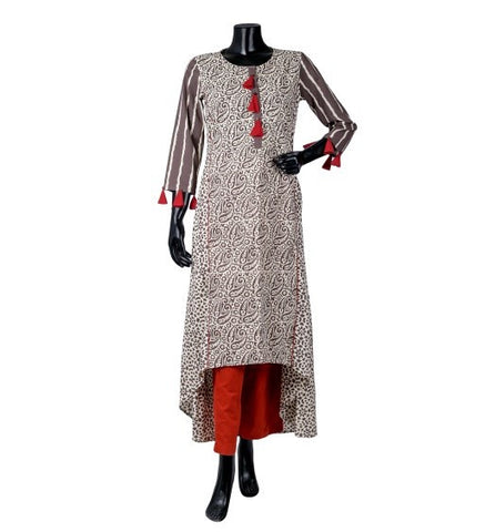Beige / Brown and Rust High Low Indo Western Kurti