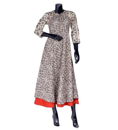 Beige Hand Block Printed Dress
