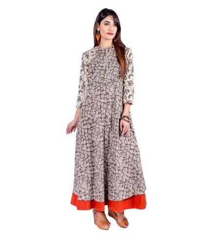 Beige Hand Block Printed Dress with Rust Border