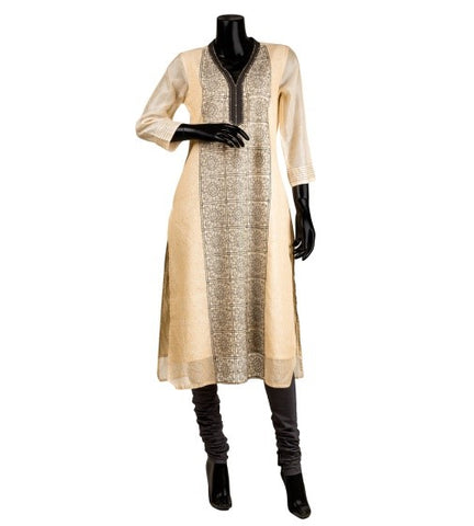 Beige Hand Block Printed Embroidered Kurta