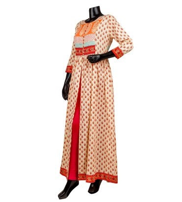 Beige Orange Hand Block Printed Cape Style Kurti