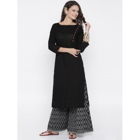 Black Solid Straight Cut Kurti with Palazzo