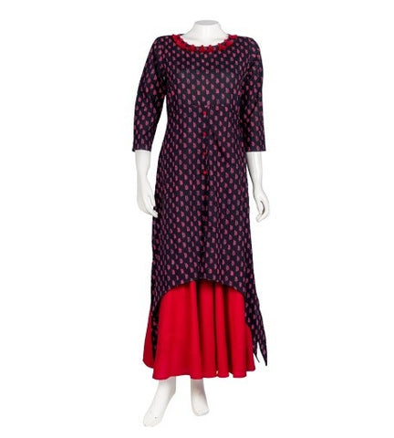 Block Print Indo Western Dress with Red Palazzo