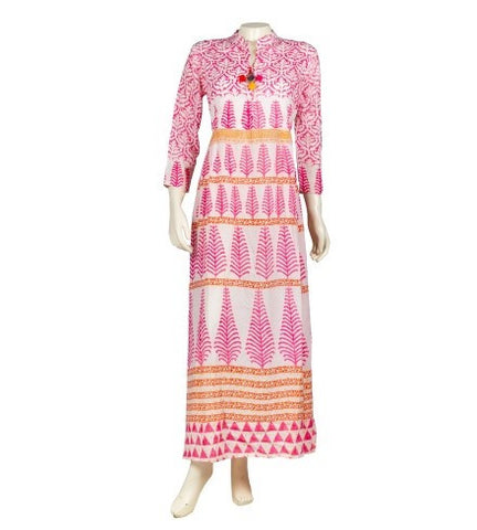 Block Print Mandarin Collar Indo Western Dress
