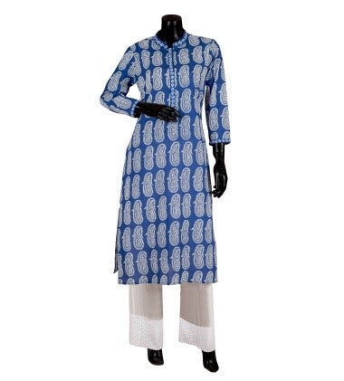 Blue Hand Block Printed Embroidered Indo Western Kurta