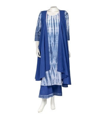 Blue Indo Western Kurta with Attached Shrug and Palazzo