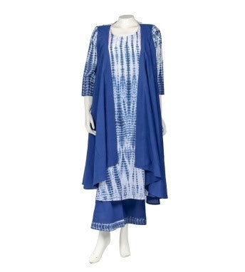 Blue Indo Western Kurta with Attached Shrug