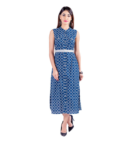 Blue White Button-Down Hand Block Print Sleeveless Dress