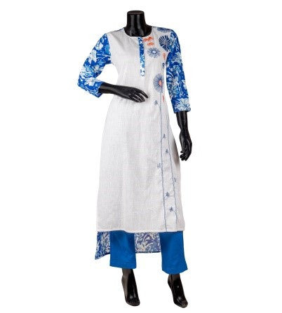 Blue & White Hand Block Printed Embroidered Indo Western Kurta