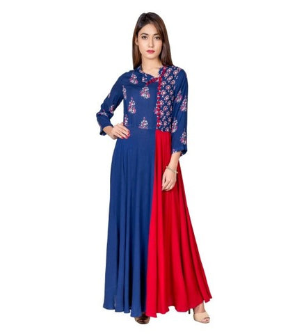 Blue and Red Hand Block Printed Indo Western Long Dress