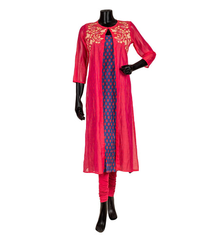 Blue and Red Hand Block Printed Kurta with Embroidered Red Chanderi Jacket