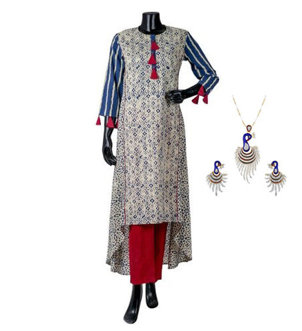 Blue /beige high low Indo western kurti