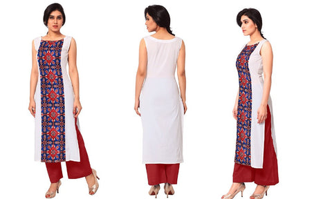 Boat Neck Style Crepe Printed Kurtis