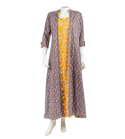 Brown and Mustard Hand Block Print Double Layered Jacket Dress