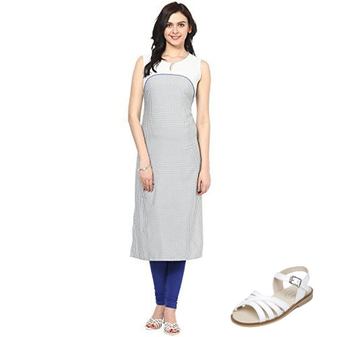 Cotton Kurti with Classic White Fitting Sandals