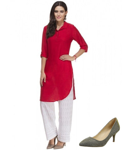 Designer Kurti with Dorothy Perkins Closed Toe Heels
