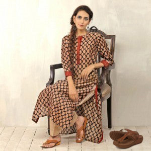Designer Kurti with Leather Sandals