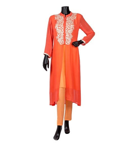 Embroiderd Kimono Neck Jacket Style Layered Kurta