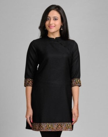 Embroidered and Solid Trimmed Black Kurti