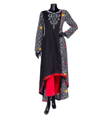 Flap Crew Neck Tulip Cut Floor Length Indo Western Kurta