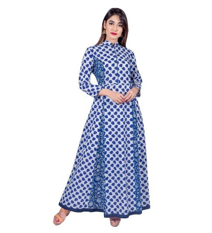 Flared Blue & White Hand Block Print Indo Western Dress