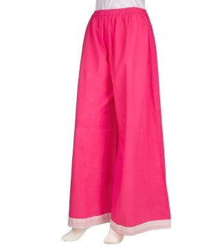 Fuchsia / Magenta Flared Cotton Palazzos