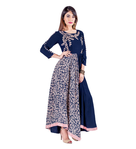 Block Print Gotta Patti Asymmetrical indo western dress for engagement