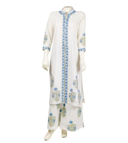 Hand Block Printed Cape Kurta with Palazzo