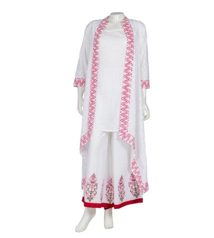 Hand Block Printed High Low Jacket Dress with Palazzo