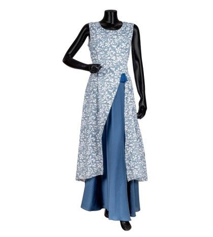 Indigo Blue and White Hand Block Printed Indo Western Dress