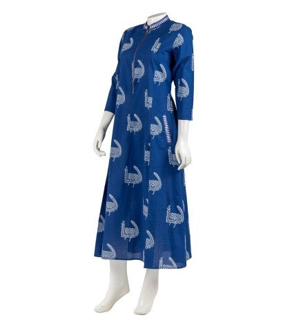 Indigo Embroidered Hand Block Print Zipper Dress with Pocket
